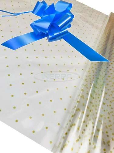 mid blue Hamper Cellophane and Large Aqua Bow for Wrapping Hampers