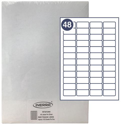 48 per sheet blank labels