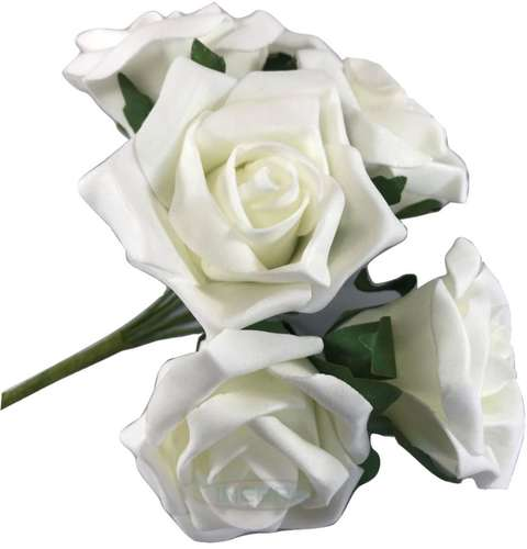 white colourfast foam roses