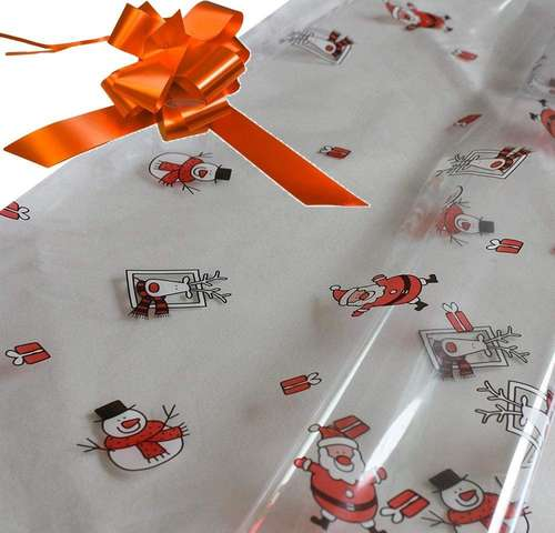 orange hamper wrapping kit cellophane wrap santa