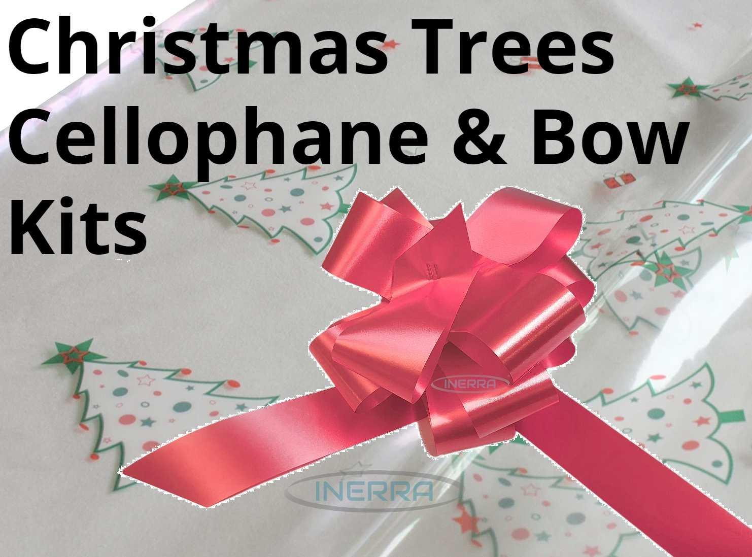 christmas trees cellophane wrap hamper wrapping kit