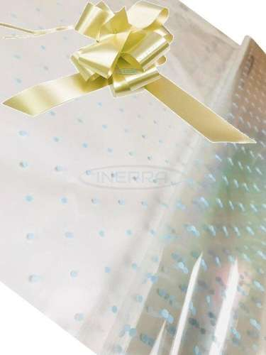 cream blue dot cellophane baby shower gifts hamper basket wrapping cellophane and bow