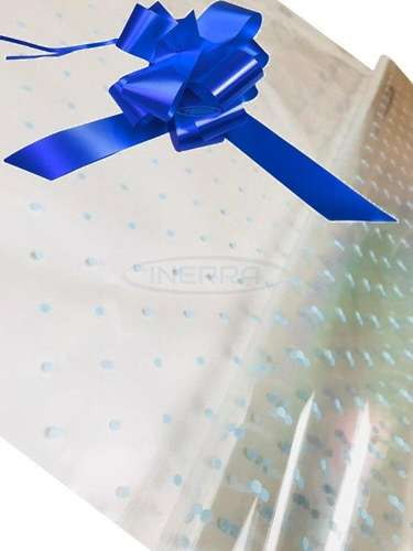 royal blue blue dot cellophane baby shower gifts hamper basket wrapping cellophane and bow