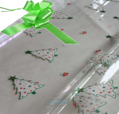 lime green hamper wrapping kit christmas trees cellophane wrap