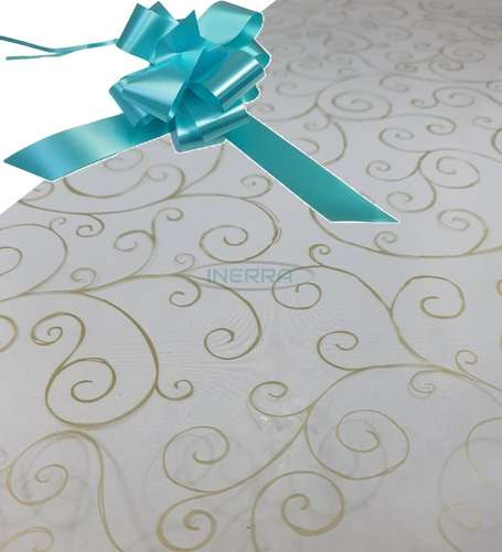 aqua hamper wrap kit cellophane bow wrapping gold scroll