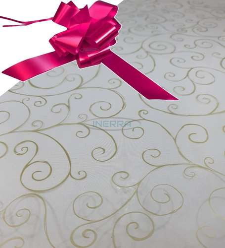 cerise  hamper wrap kit cellophane bow wrapping gold scroll