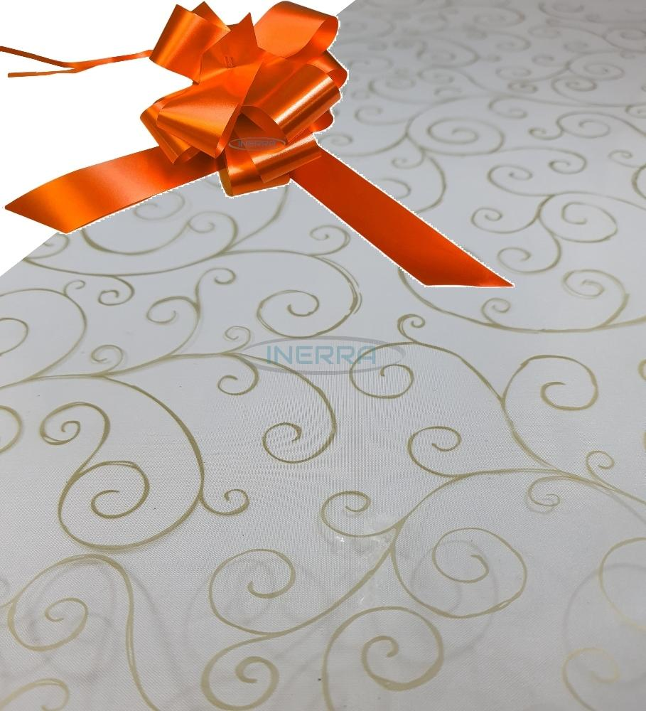 orange  hamper wrap kit cellophane bow wrapping gold scroll