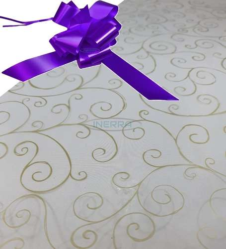 purple  hamper wrap kit cellophane bow wrapping gold scroll