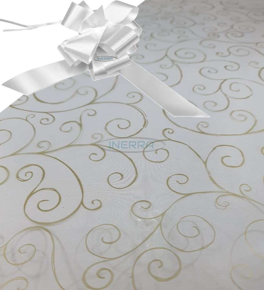 white  hamper wrap kit cellophane bow wrapping gold scroll
