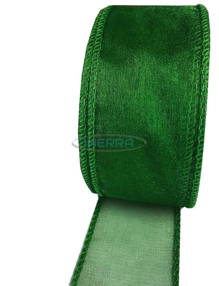 hunter green wired edge ribbon organza
