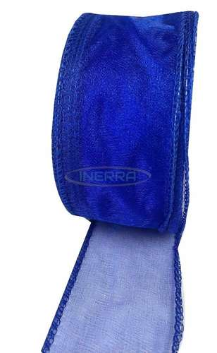 royal blue wired edge organza ribbon