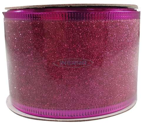 hot pink christmas glitter ribbon