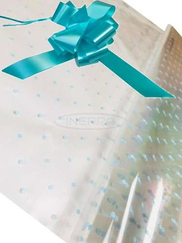 blue dot cellophane baby shower gifts hamper basket wrapping cellophane and bow