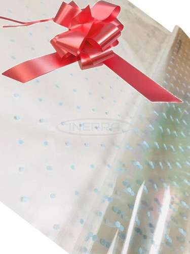 salmon pink blue dot cellophane baby shower gifts hamper basket wrapping cellophane and bow