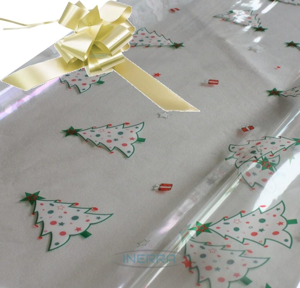 cream hamper wrapping kit christmas trees cellophane wrap