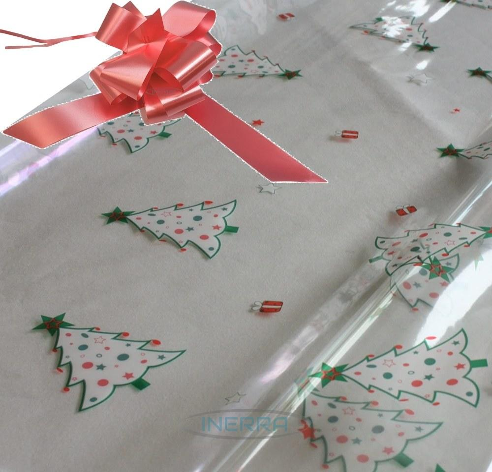 salmon pink hamper wrapping kit christmas trees cellophane wrap