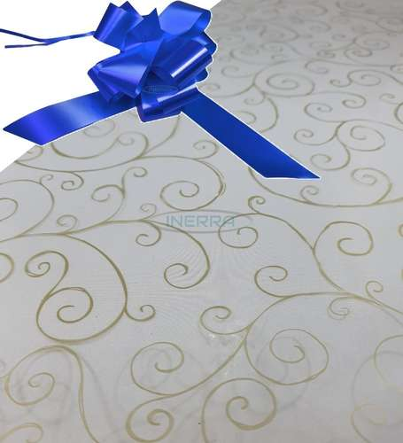 hamper wrap kit cellophane bow wrapping gold scroll royal blue
