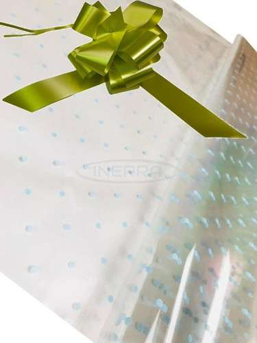 olive blue dot cellophane baby shower gifts hamper basket wrapping cellophane and bow