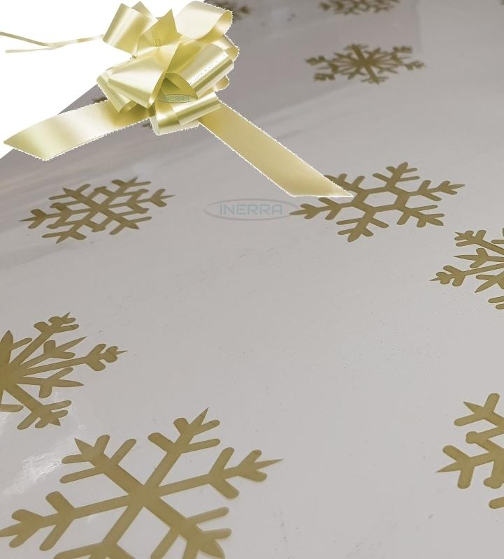 cream christmas cellophane wrap for hampers snowflakes bow
