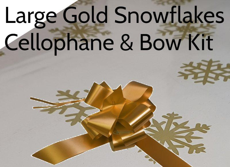 large gold snowflakes cellophane hamper wrapping basket bow