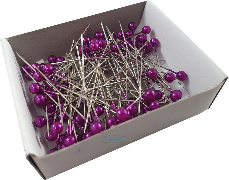 purple round pearl corsage buttonholes wedding pins needles