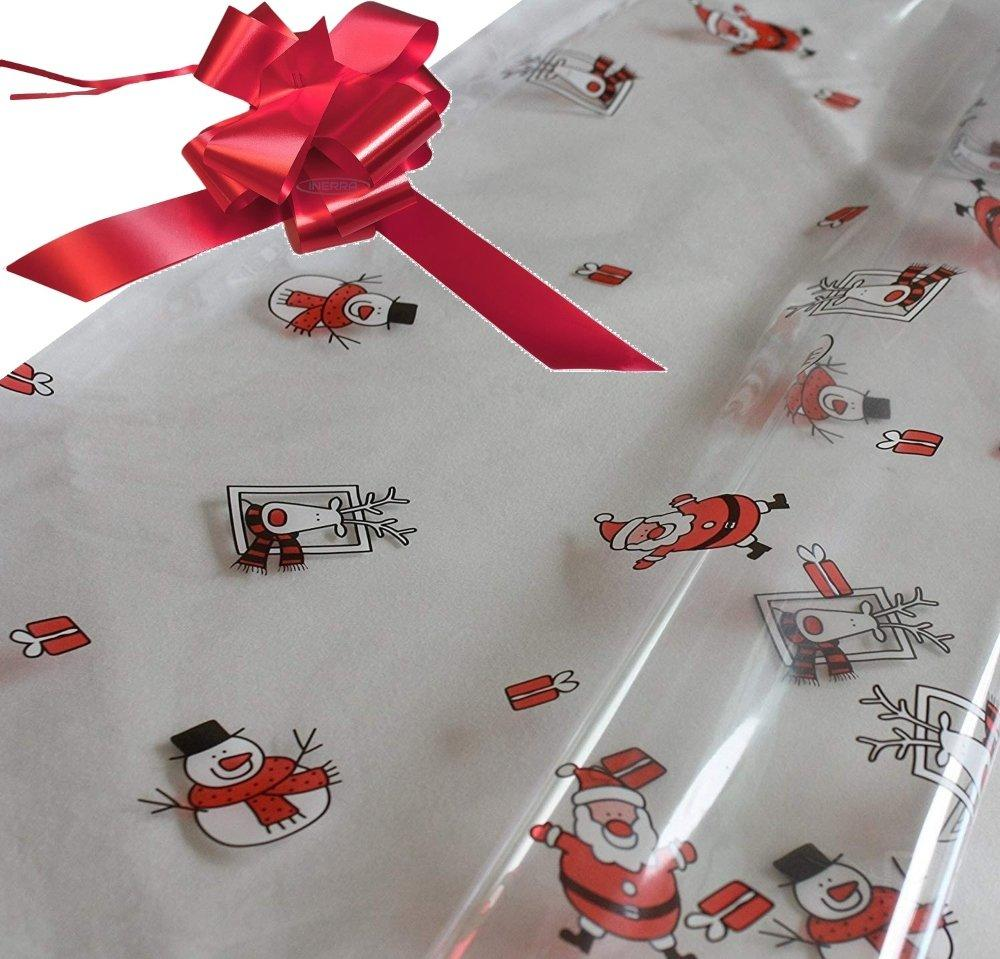 red hamper wrapping kit cellophane wrap santa