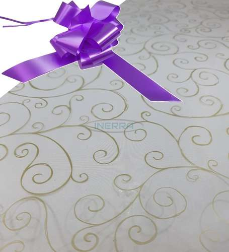 lilac  hamper wrap kit cellophane bow wrapping gold scroll