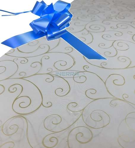 mid blue  hamper wrap kit cellophane bow wrapping gold scroll
