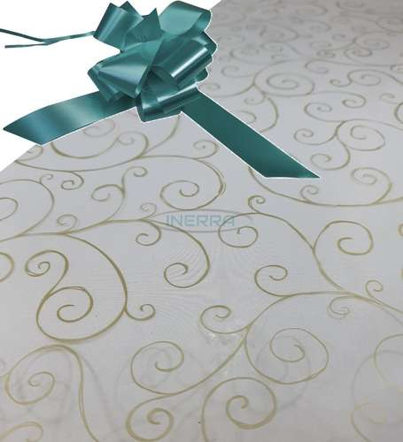 turquoise  hamper wrap kit cellophane bow wrapping gold scroll