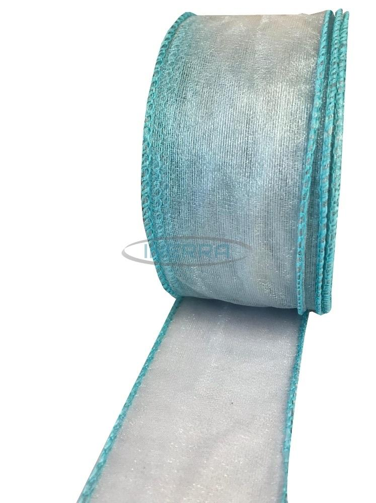 turquoise wire edge organza ribbon