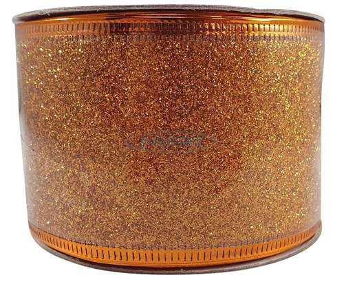 ribbon for christmas trees glitter copper