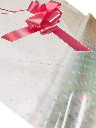 blue dot cellophane baby shower gifts hamper basket wrapping cellophane and bow baby pink