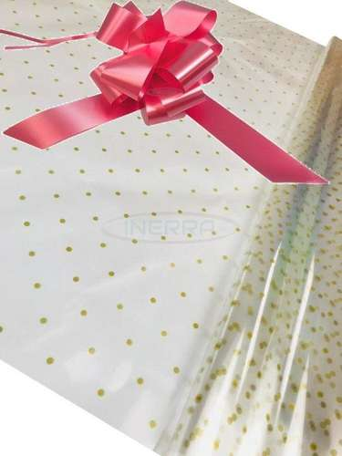 baby pink Hamper Cellophane and Large Aqua Bow for Wrapping Hampers