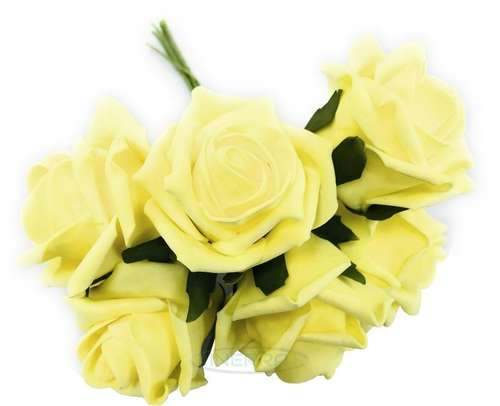lemon colourfast foam roses