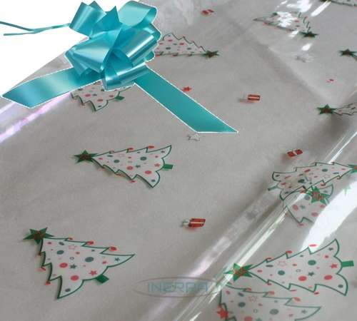 hamper wrapping kit christmas trees cellophane wrap aqua
