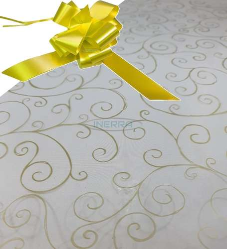 yellow  hamper wrap kit cellophane bow wrapping gold scroll