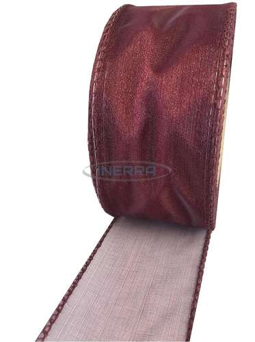 burgundy wired edge organza ribbon