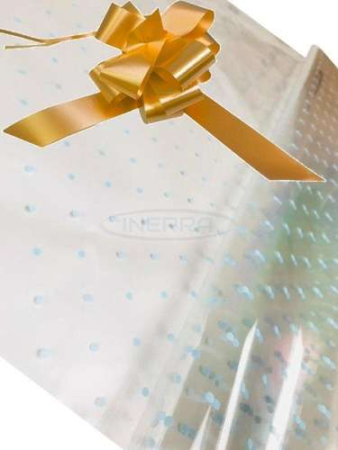 gold blue dot cellophane baby shower gifts hamper basket wrapping cellophane and bow