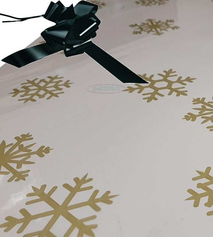 christmas cellophane wrap for hampers snowflakes bow  black
