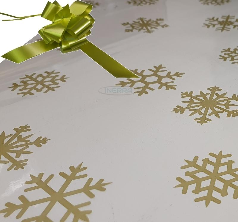 olive christmas cellophane wrap for hampers snowflakes bow
