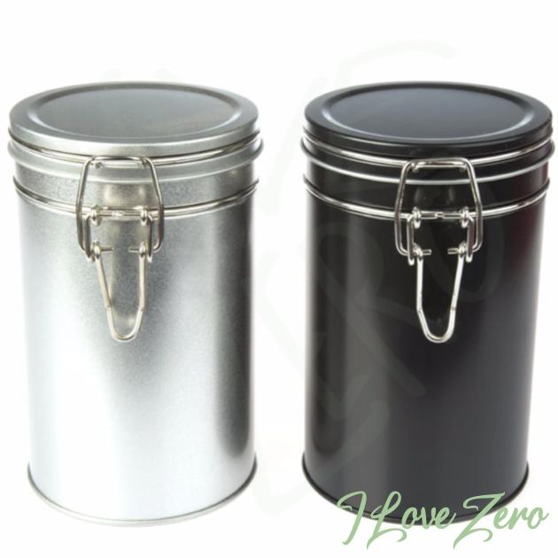 Tin - Clip Lid 850ml black and silver