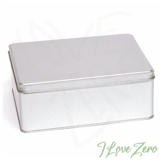 Large Silver Rectangular Tin with Either a Solid or Window Slip or Hinged Lid | This collection of large silver rectangular tins is suitable packaging for anything from cakes and chocolate to stationery and games.  These tins have a traditional slip lid and are available with or without a window. Due to their size, the larger tin lids feature a hinge attachment to the tin base.