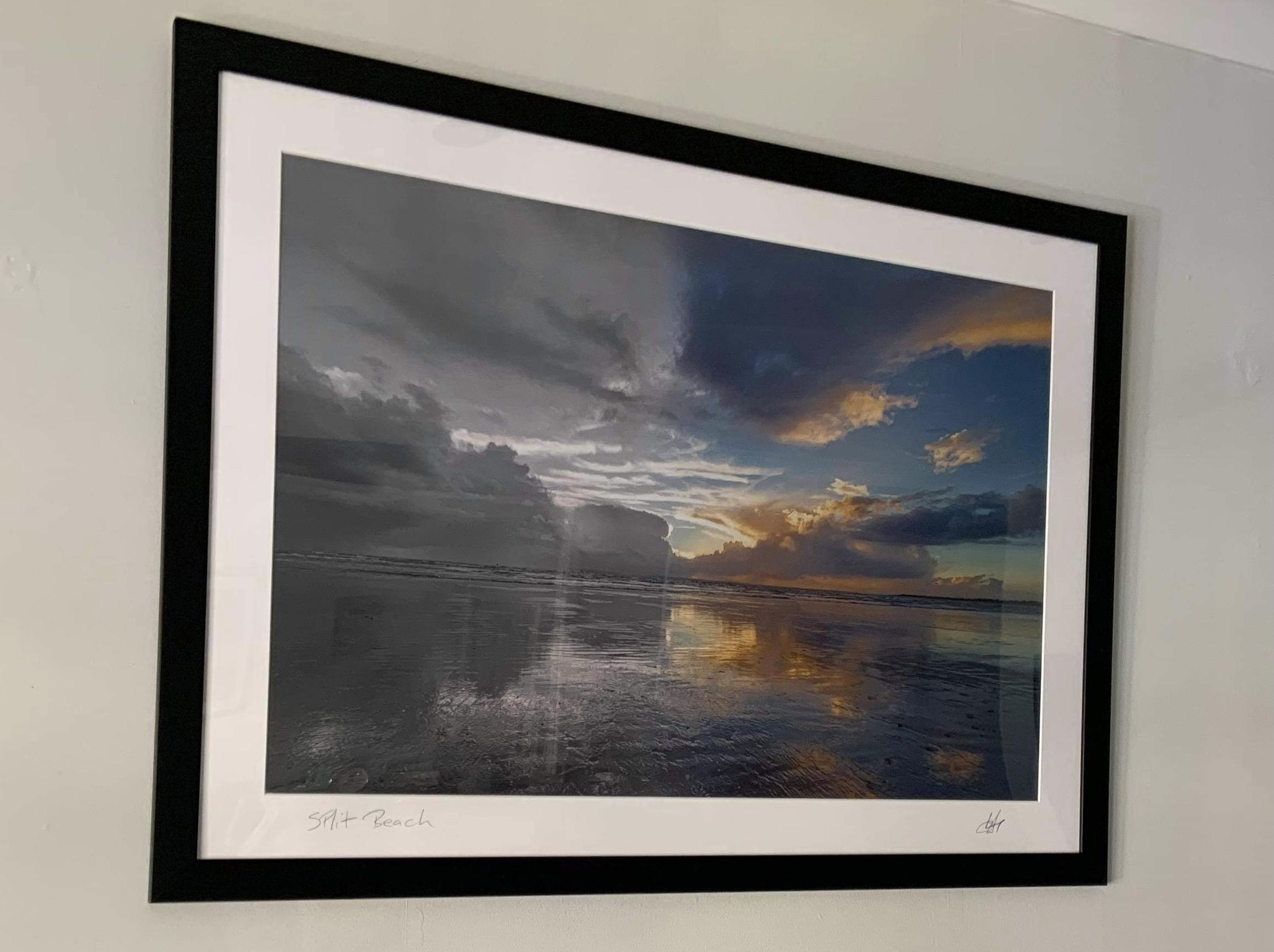 Split Beach - framed mounted and signed print