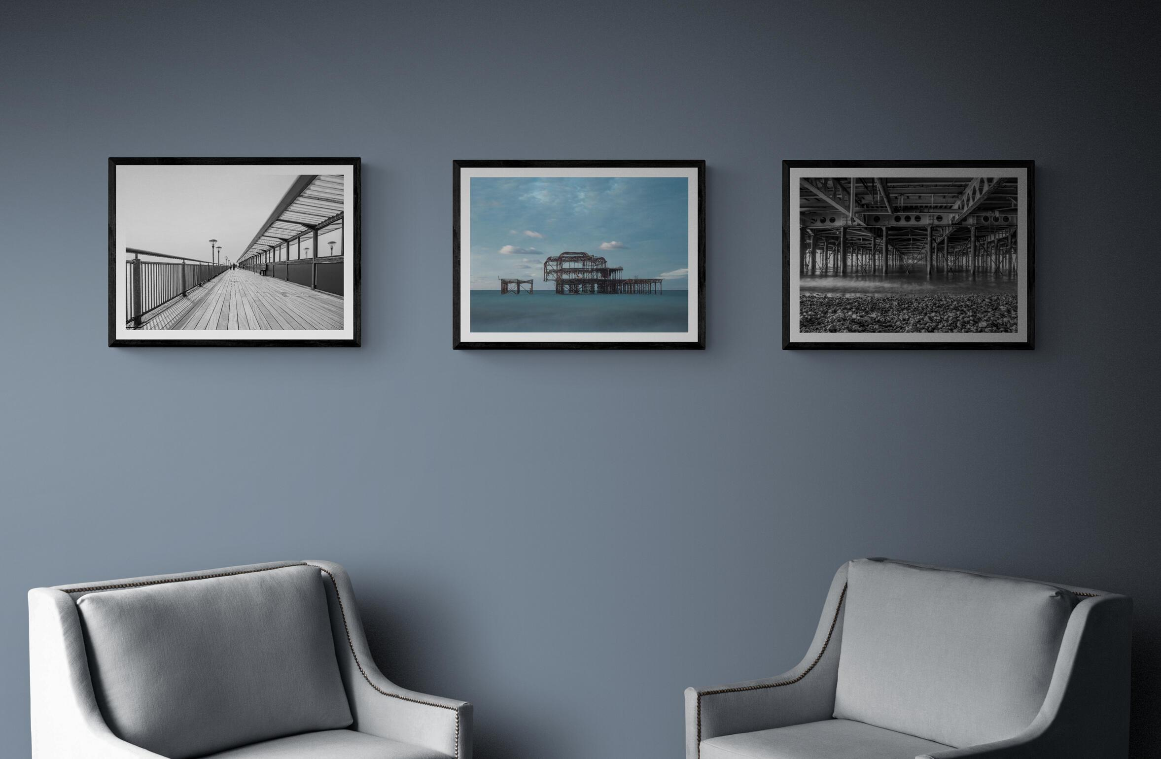 Three framed prints from our piers collection - from left to right - Strolling, West Pier, Under the Pier