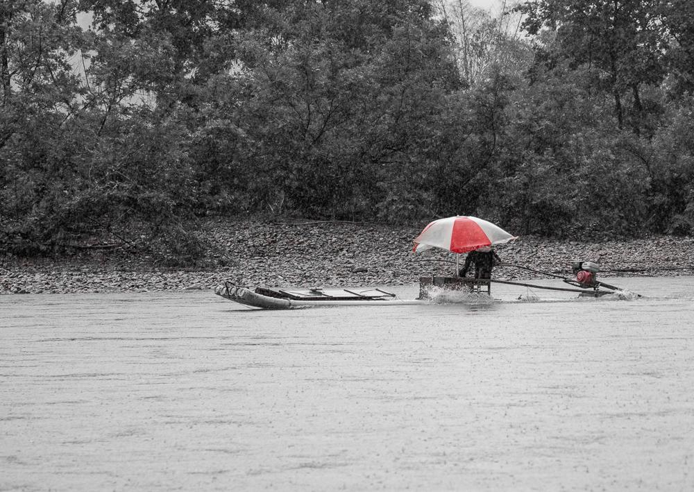 Rain on the Li - a black and white image of the river in China