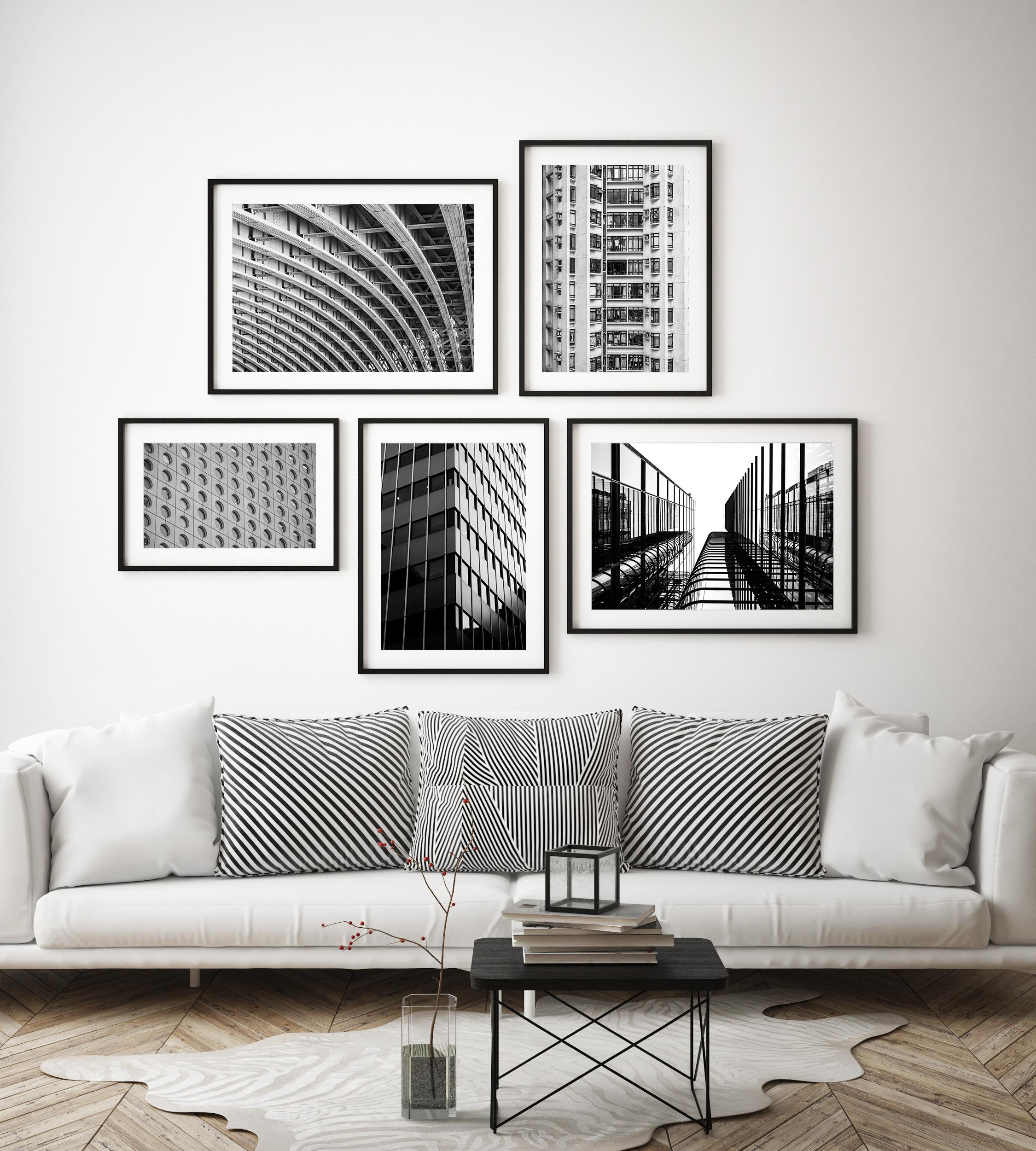 Circles and lines collection of 5 black and white themed prints