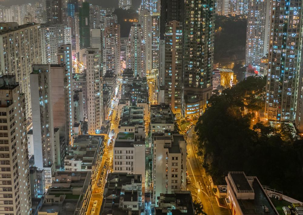 Looking Downtown, a print of Hong Kong taken at night.