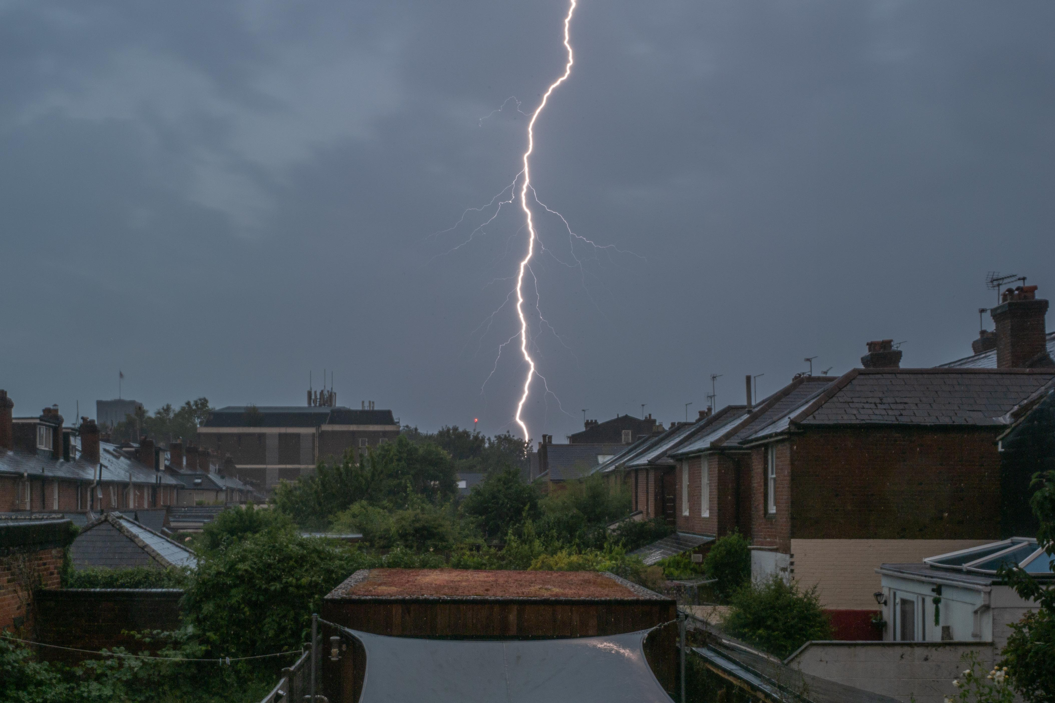 A lightning strike hits central Winchester early on the morning of 24th July 2021