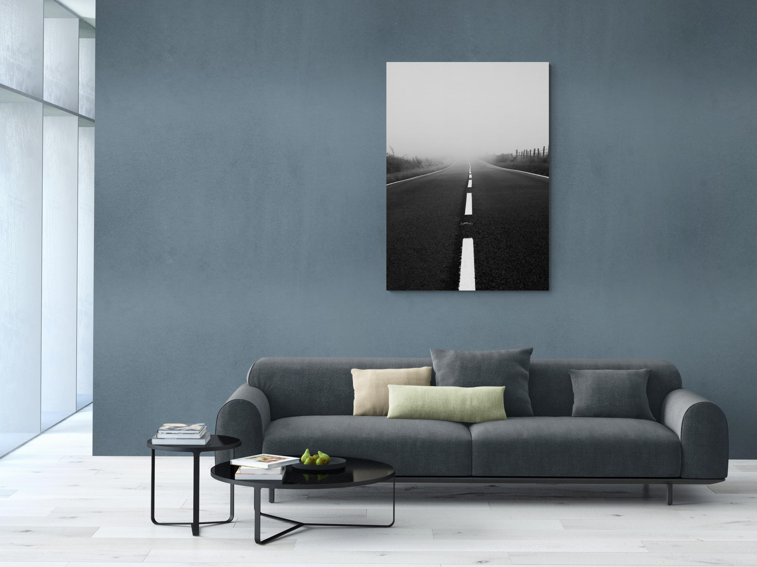 into the mist - black and white canvas