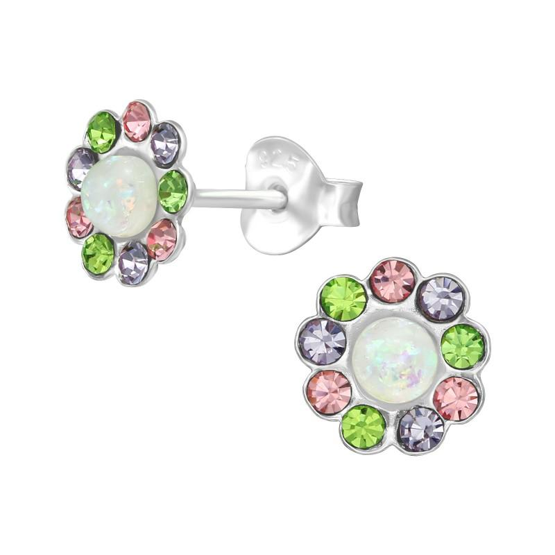 children's sterling silver mother of pearl flower stud earrings